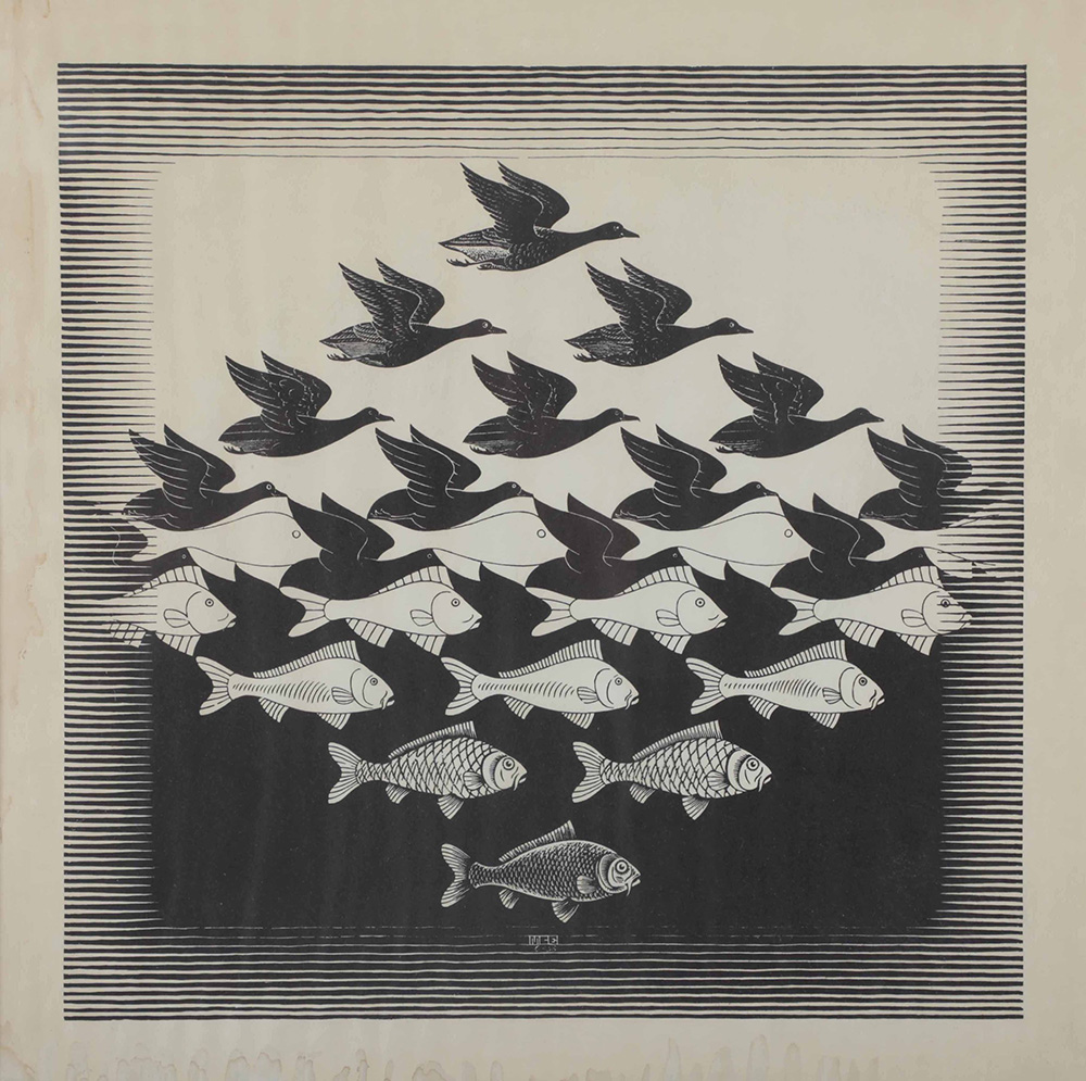 Maurits Cornelis Escher (1898-1972), Sky and Water I (Lucht en Water I), 1938...