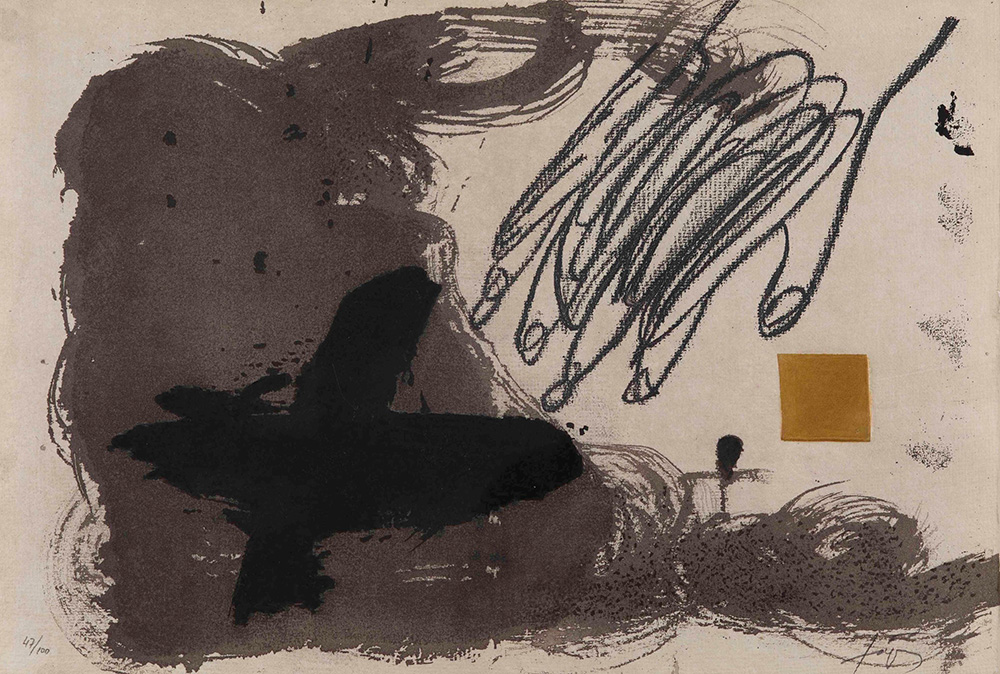 Antoni Tapies (1923-2012), Cruz y mano, 1988 acquaforte su carta Guarro, cm...