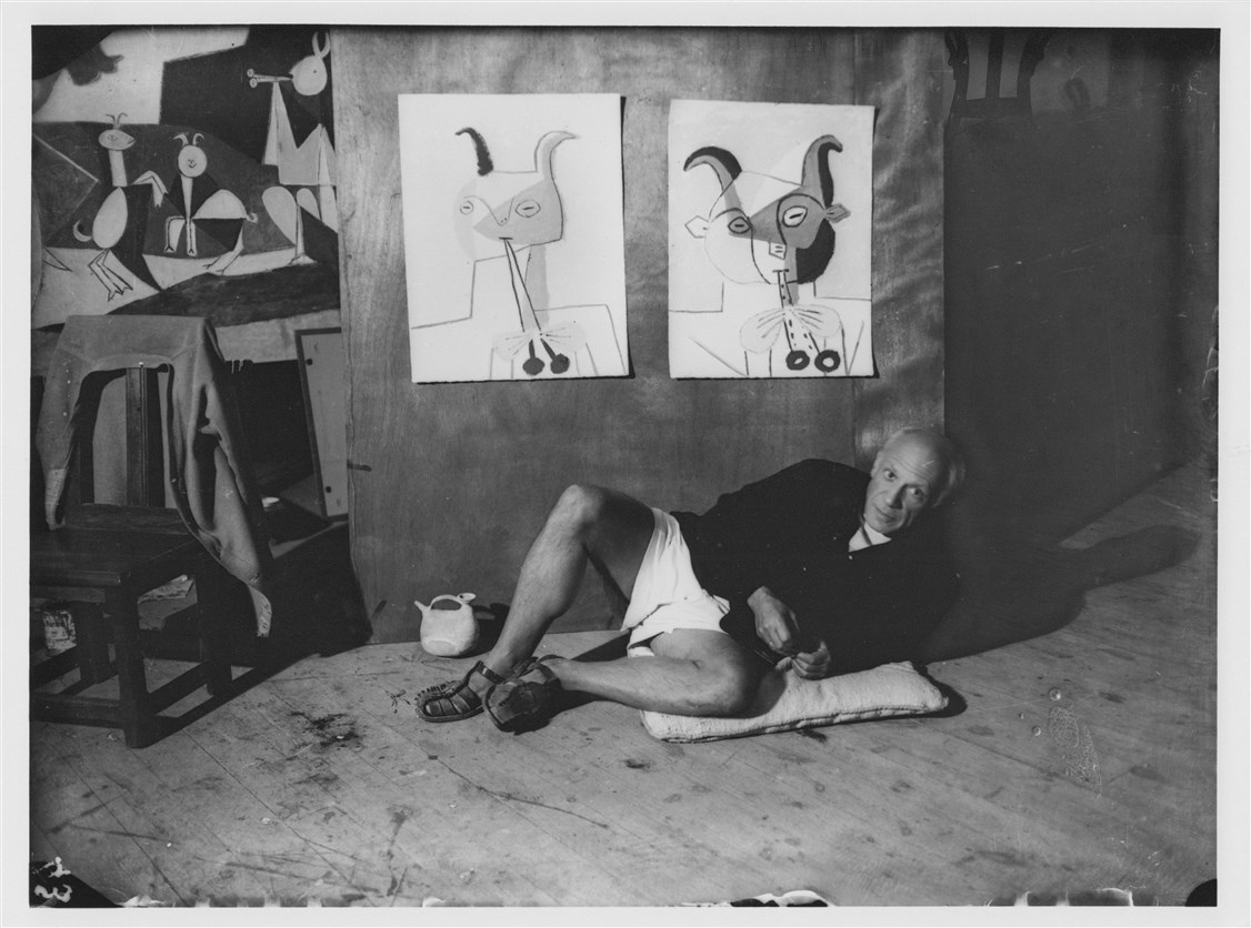 Michel Sima Pablo Picasso with his works 1946  Gelatin silver print R-C printed