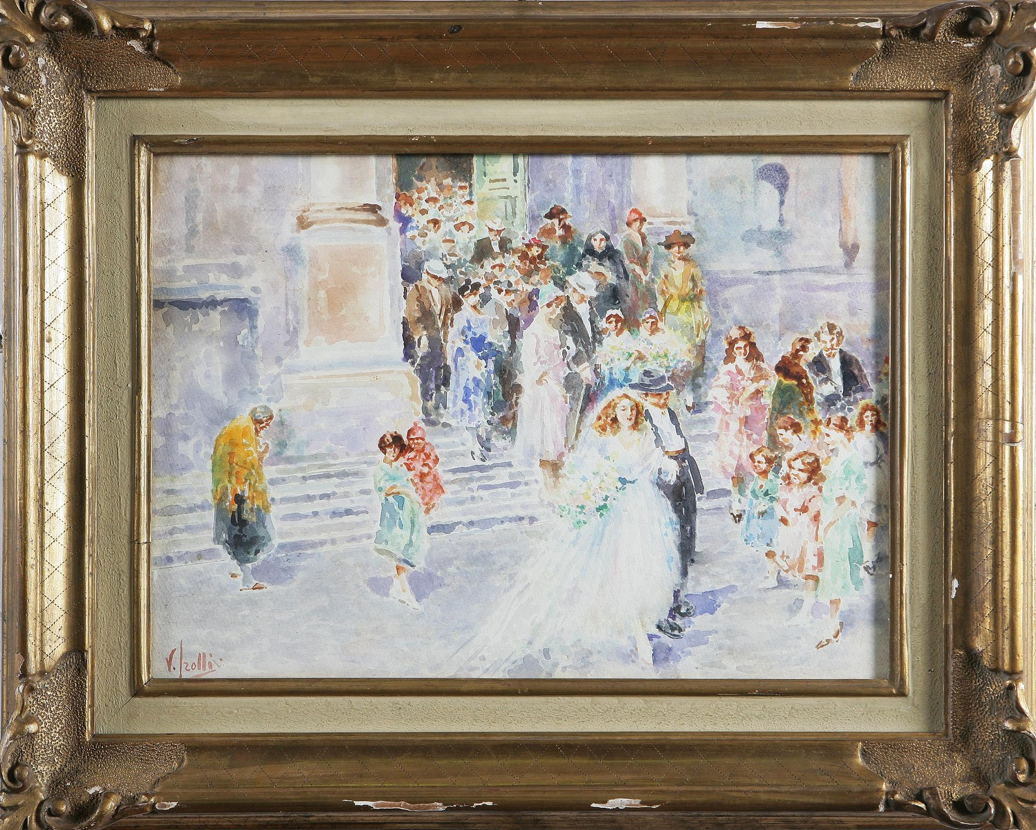 IROLLI VINCENZO (1860 - 1942) Matrimonio. Acquerello. Cm 31x42. Firma in...