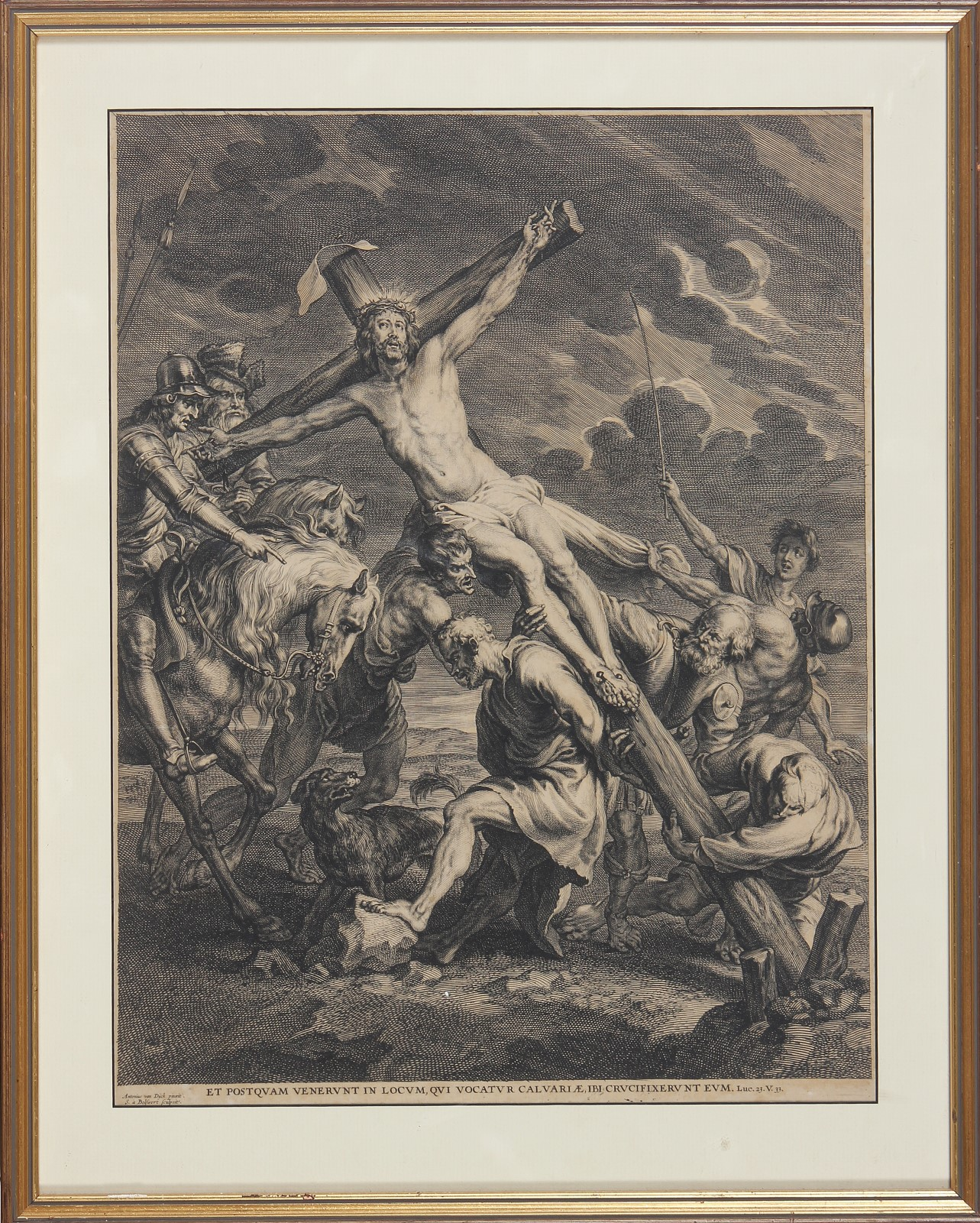 BOLSWERT VAN SCHELTE (1576 - 1659) The rising of the cross. Stampa. Cm 44,00...