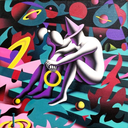 Mark Kostabi 1960, Whittier (California) - [USA] Ring of hope olio su tela...