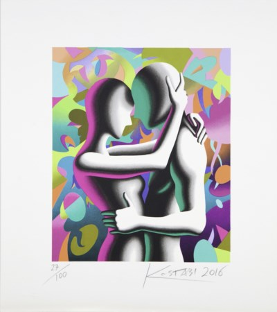 "Mark Kostabi Los Angeles 1960 ""Out of this world"" serigrafia a 38 passaggi di..."