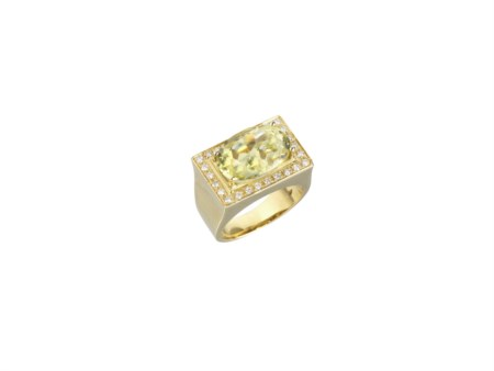 ANELLO IN ORO GIALLO, QUARZO LEMON E DIAMANTI montatura geometrica con...