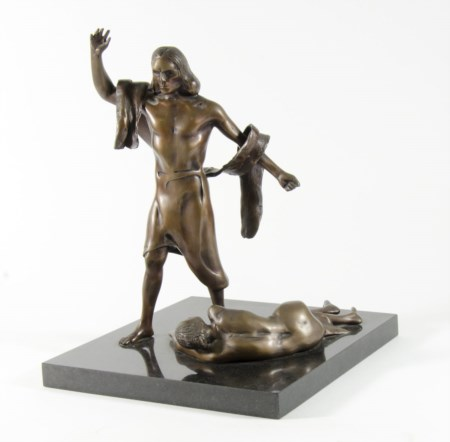 "Ugo Attardi 1923-2006 ""Cristo e l'adultera"" h. tot cm. 43 - scultura in..."