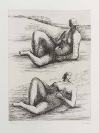 HENRY MOORE (1898 - 1986) Two reclining figures 1977 - 1978 Acquaforte su...