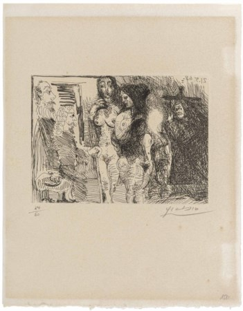 PABLO PICASSO (1881 - 1973) Procuress presenting two women to two clients...