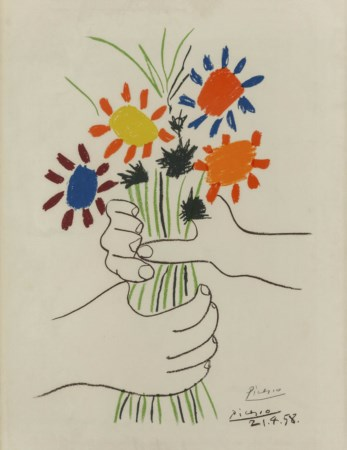 PABLO PICASSO (1881 - 1973) Bouquet of peace Litografia a colori su carta...