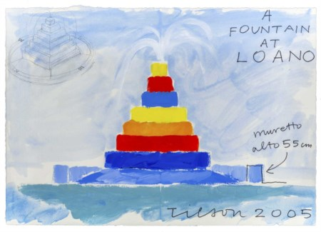 JOE TILSON (1928) A Fountain at Loano 2005 Tecnica mista su carta Saunders...