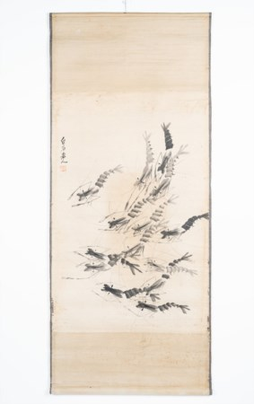 Arte Cinese  Scroll depicting twelve shrimps signed Qi Baishi Watercolour on paper .