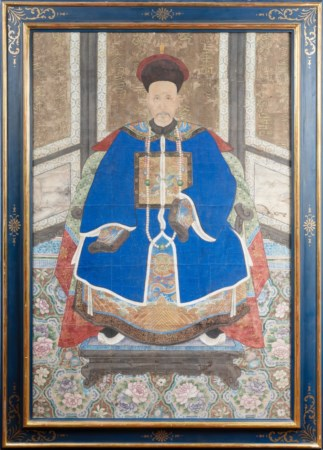 Arte Cinese  A large very fine painting portraying an officer China, Qing dynasty, 18th century .