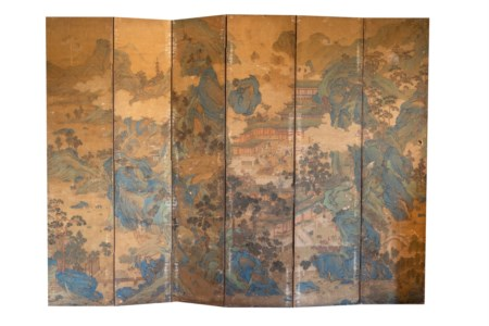 Arte Cinese  A large six panel screenCina, Unknown artist, 17th century .