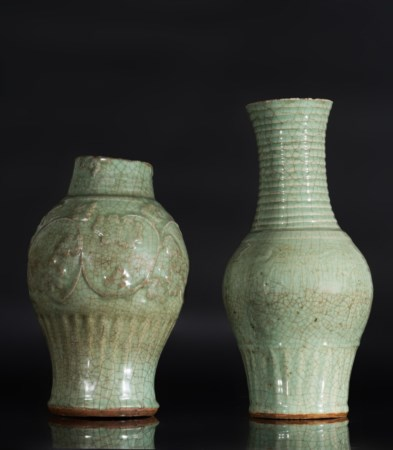Arte Cinese  Two celadon glazed baluster vases China, Yuan dynasty .