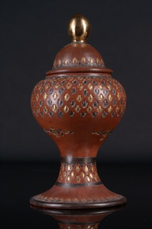 Arte Islamica  A Tophane gilded pottery lidded high stem vase Turkey, 19th century .