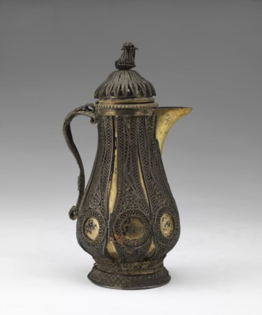Arte Islamica  Ottoman silver filigree coffee jugTurkey, 18th century .