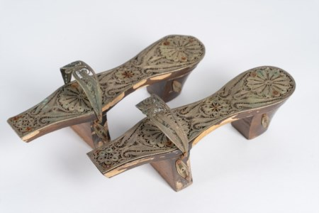 Arte Islamica  A pair of Ottoman wooden and silver filigree hammam clogsTurkey, 19th century .