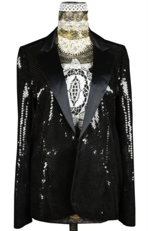 KARL LAGERFELD PER H&M Giacca nera smoking con paillettes, revers in raso...