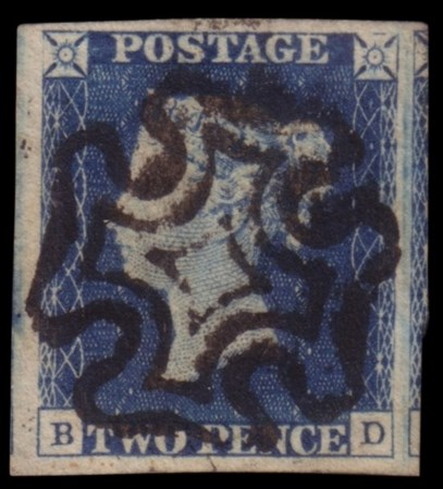 "GREAT BRITAIN 1840 2d. blue ""Penny blue"" (B-D)  Provenienza Collezione ""Nimue"""
