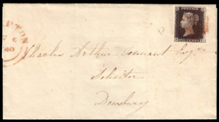 GREAT BRITAIN 1840 (jun. 6) Folded letter to Deiosbury franked with 1d. black ""