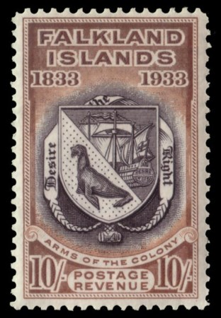 "FALKLAND ISLANDS 1933 ""Centenary of British Administration"". 10s. black and che"