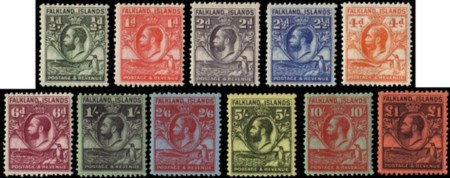 FALKLAND ISLANDS 1929/1937 King George V. Complete set of 11 values  MH........