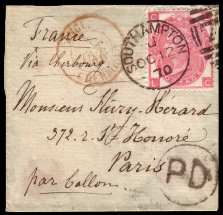 FRANCE/GREAT BRITAIN 1870 (oct. 12) Small folded letter from Southampton to Par