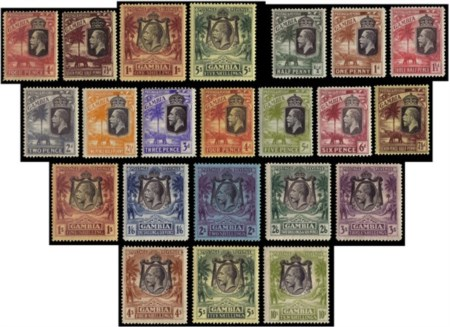 "GAMBIA 1922/1929 King George V. Complete set of 4 wmk ""Mult Crown CA"" and compl"