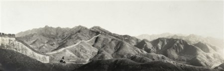 Theophile Piry China, Great Wall 1900 ca.  Stampa fotografica vintage alla gelat