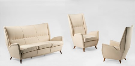 "Gio Ponti (1891-1979)  - Pair of armchairs and sofa ""ISA"", 1940 ca."