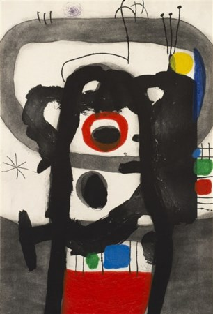 "Joan Mirò ""L'Enragé"" 1967 acquaforte acquatinta a colori, con carborundum su car"