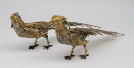 Coppia di fagiani in argento con parti dorate - A pair of siver pheasants with gilded parts