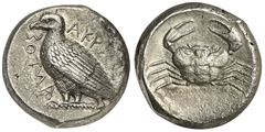 Sicily, Akragas, Tetradrachm, ca. 465/4-446 BC; AR (g 16,49; mm 24; h 4); AKPAΓANTOΣ, Eagle standing l.; Rv. Crab within shallow incuse circle. Westermark, Coinage, 392; SNG ANS 976-7; HGC 2, 78. Good very fine