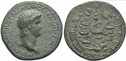 Nero (54-68), Sestertius, Rome, AD 64. AE (g 22,50; mm 37; h 7). NERO CLAVDIVS CAESAR AVG GERM P M TR P IMP P P, Laureate head r., Rv. […]PORT AVG, Port of Ostia: seven ships within the harbor; at the top is a pharus surmounted by