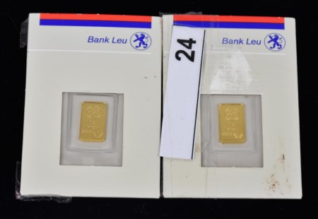 LOTTO DI DUE LINGOTTINI IN ORO FINO marca Mp commercializzato da Bank Leu oro...