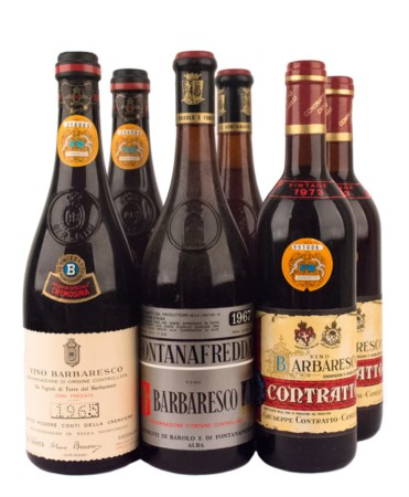 Barbaresco Selection ( Tot. 6 bt 0,75 lt.: 2 bt 1967 Fontanafredda, 2 bt 1973...