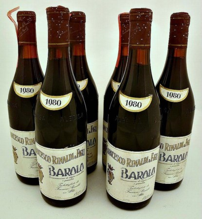 Barolo 1980, Rinaldi ( 6 bt 0,75 lt.) Good condition but 1 bt with damaged...