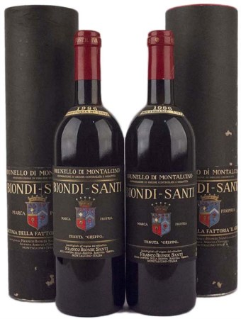 Brunello di Montalcino 1986, Biondi Santi ( Tot. 2 bt 0,75 lt.) With original...