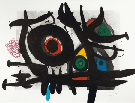 Joan Mirò (1893-1983), L'oiseau destructeur, 1969, acquaforte a colori, cm...
